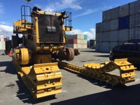 Caterpillar bull dozer stripped for transport