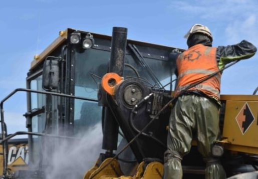 Freightplus completing biosecurity cleaning of a Caterpillar mining machine