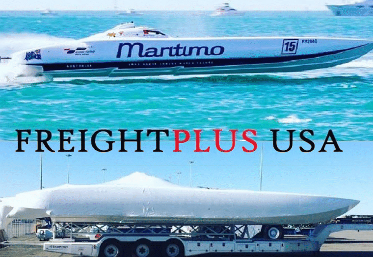 Maritimo 15 super boat racing on water and wrapped on trailer