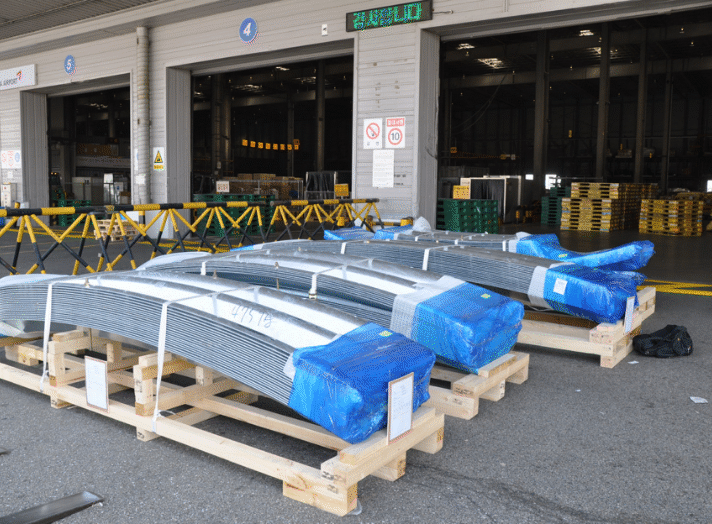 Air freight consignment on wooden pallets for Rio Tinto