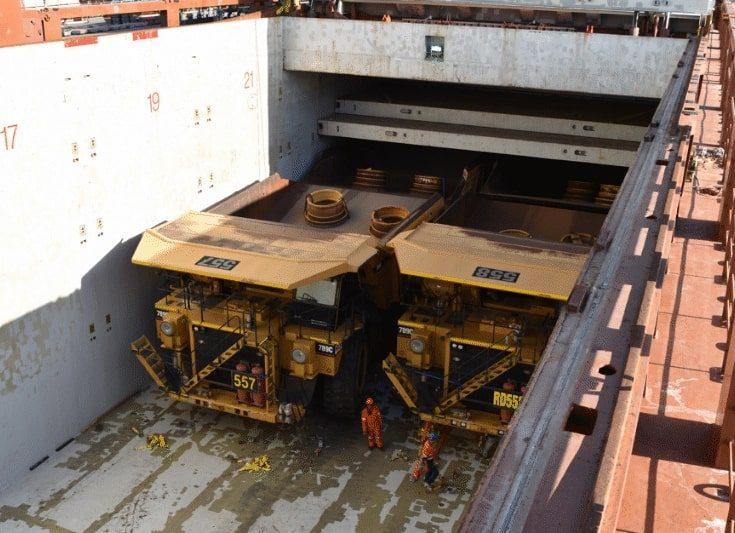 Break bulk shipping of Caterpillar 789C dump trucks