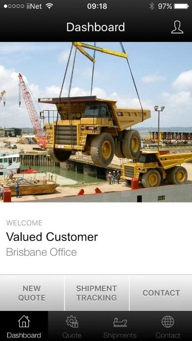 Freightplus mining app homepage