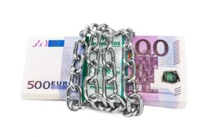 Euro currency locked up in chains
