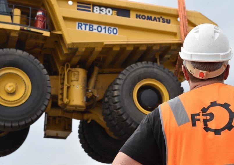 Lifting a Komatsu 830E dump truck