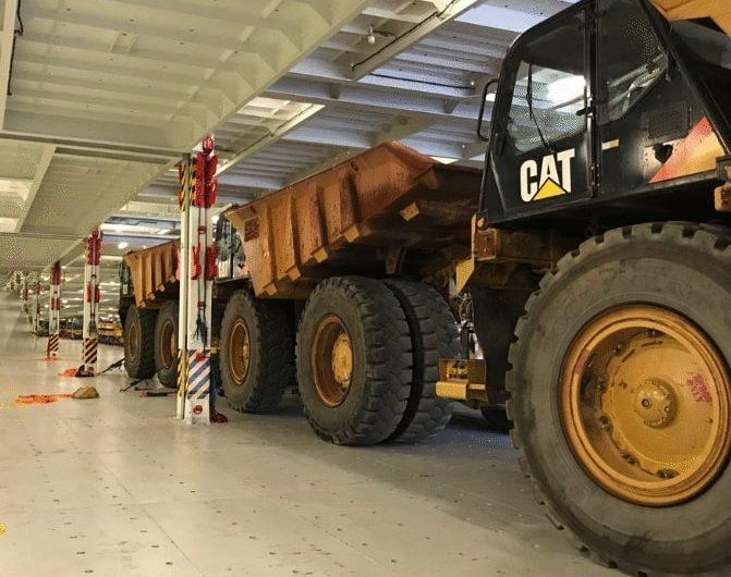 Roll-on/roll-off shipping of caterpillar dump trucks