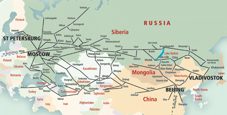 Rail transport map for Russia and surrounding countries