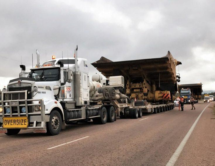 Transportation of mining machinery via road on trucks