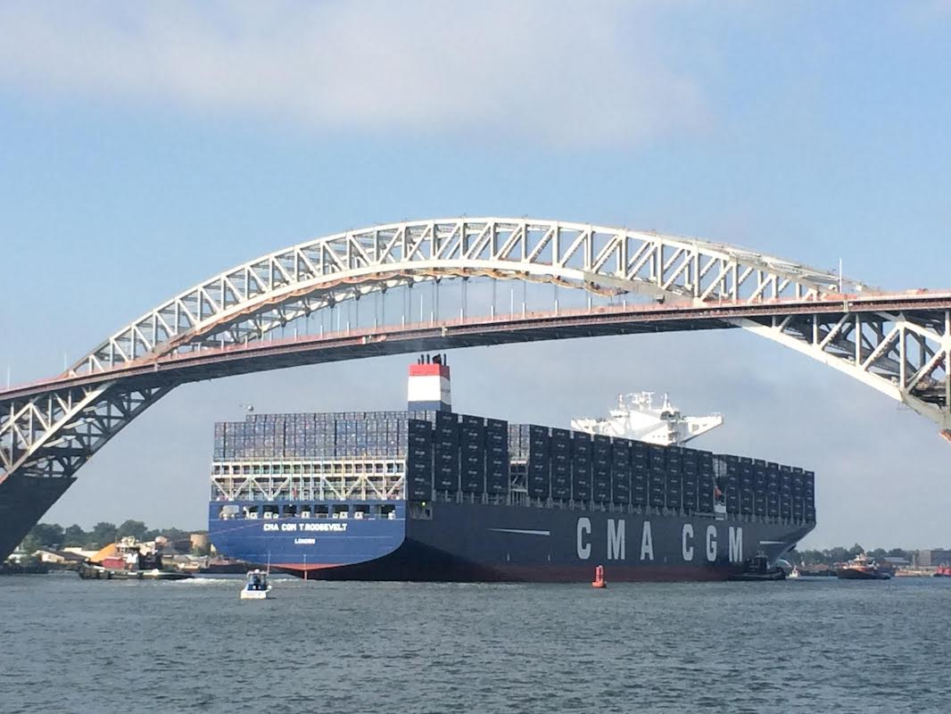 CMA CGM sailing underneath the Bayonne Bridge