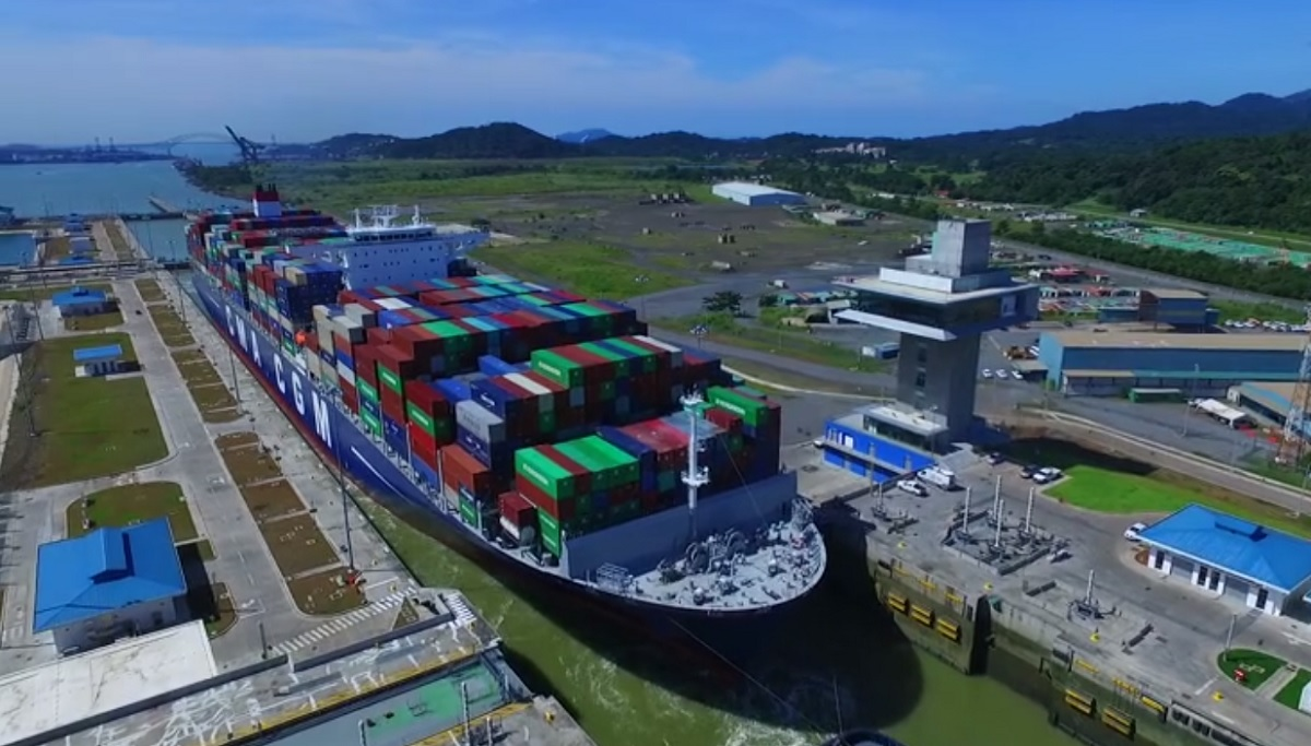 CMA CGM Theodore Roosevelt transiting through the Panama Canal