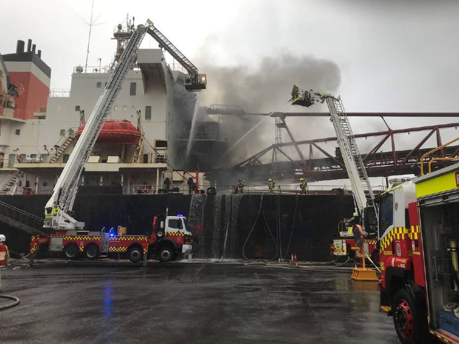 Fire on vessel at Port Kembla Berth 113