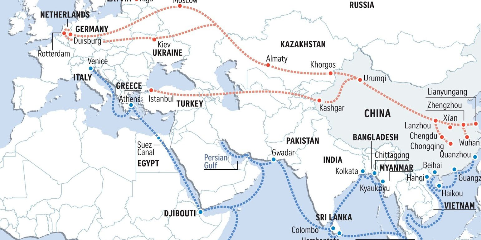 Map detailing the routes of the Belt Road Initiative