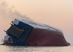 Overturned RoRo vessel.